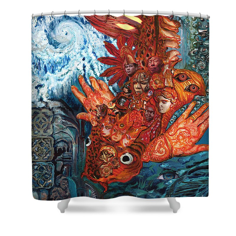 Fish Shower Curtain featuring the painting Humanity Fish by Emily McLaughlin