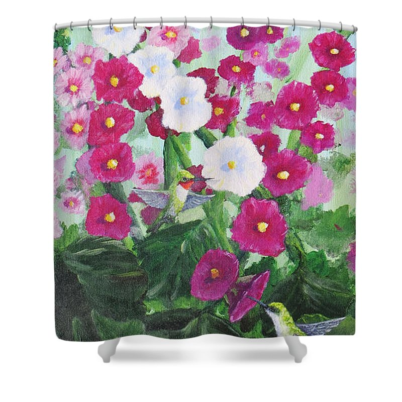 Hollyhocks Shower Curtain featuring the painting Hummin The Hocks by Darrel Henderson