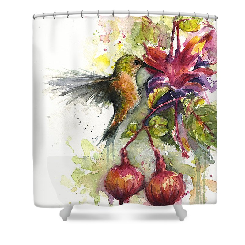 Hummingbird Shower Curtain featuring the painting Hummingbird and Fuchsia by Olga Shvartsur