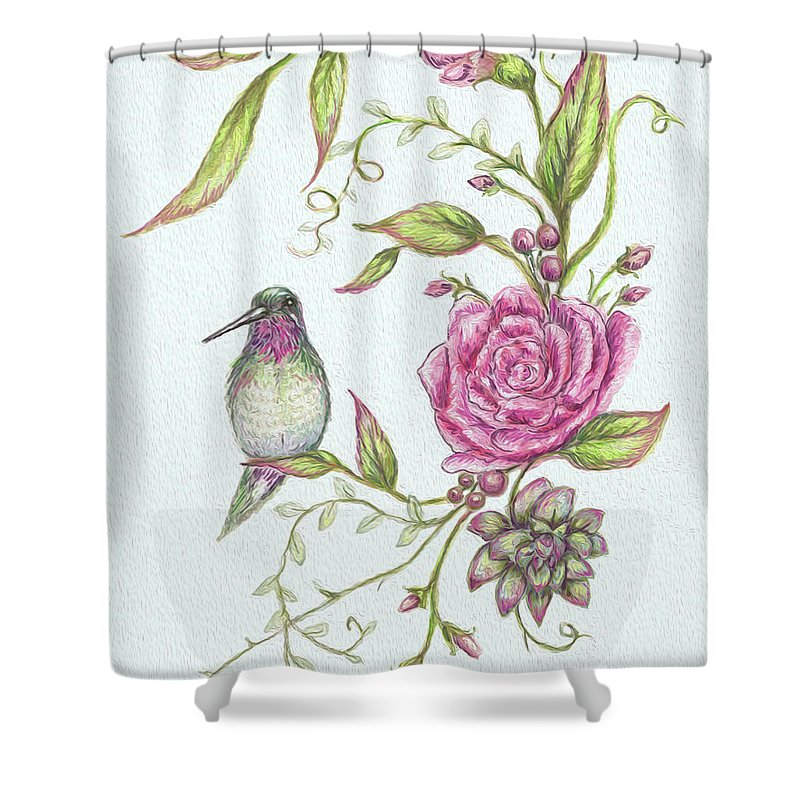 Birds Shower Curtain featuring the mixed media Hummingbird And Rose by Heidi Thompson