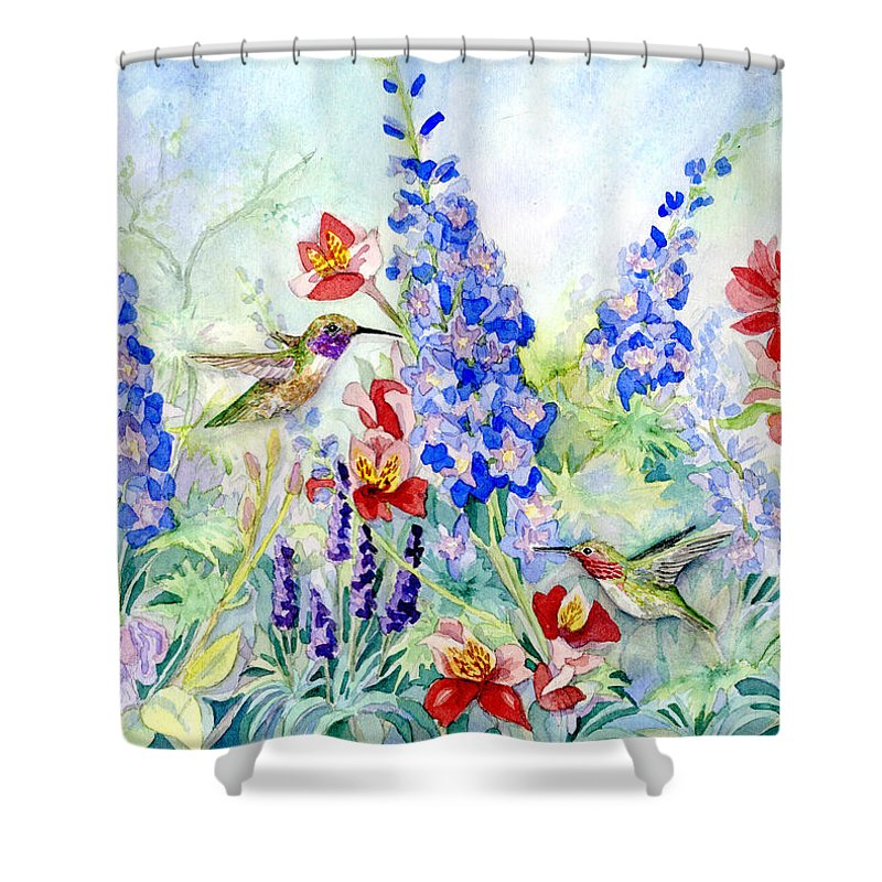 Watercolor Shower Curtain Featuring The Painting Hummingbird Garden In Spring By Audrey Jeanne Roberts