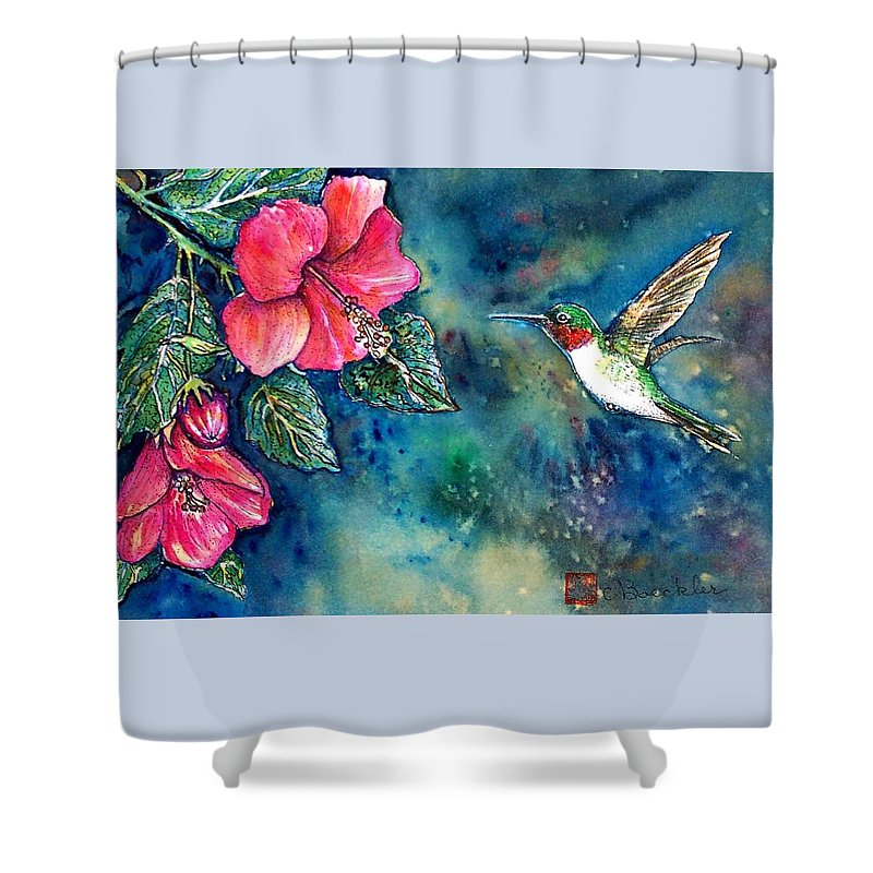 Birds Shower Curtain featuring the painting Hummingbird by Norma Boeckler