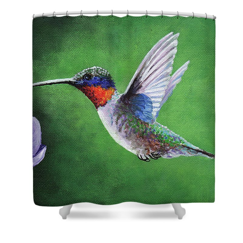 Timithy Shower Curtain featuring the painting Hummingbird by Timithy L Gordon