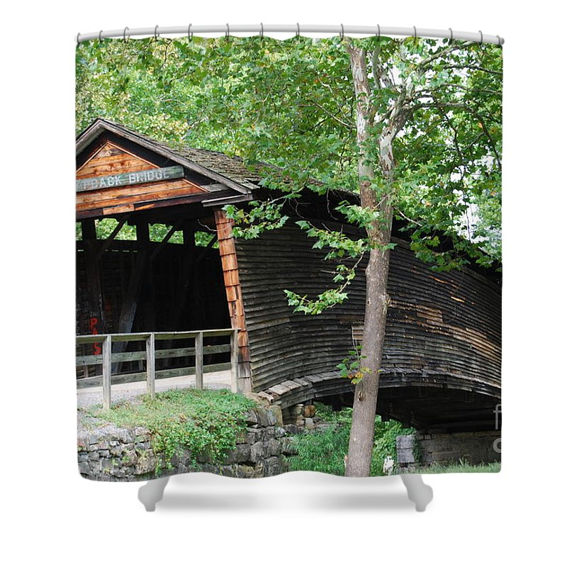 Rock Shower Curtain featuring the photograph Humpback Bridge by Eric Liller