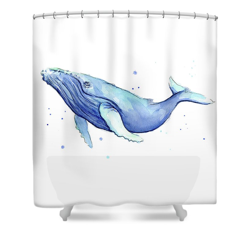 Whale Shower Curtain Featuring The Painting Humpback Watercolor By Olga Shvartsur