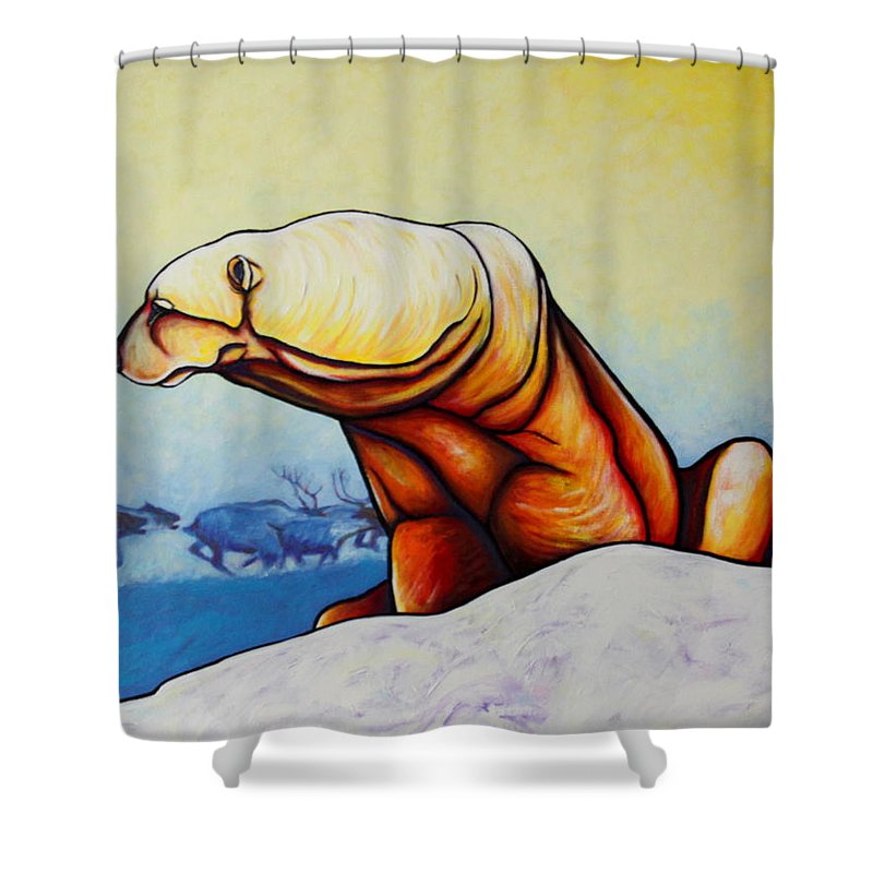 Wildlife Shower Curtain featuring the painting Hunger Burns - Polar Bear And Caribou by Joe Triano