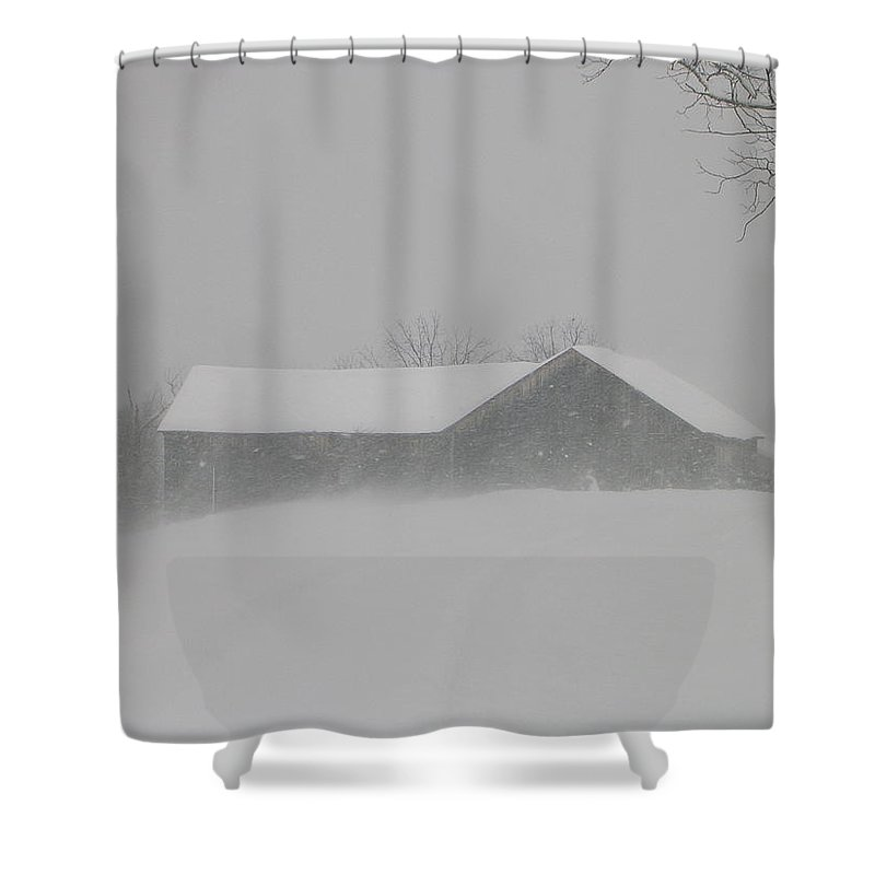 Structural Landscape Of Barn Shower Curtain featuring the photograph Hunker Down by Jack Harries