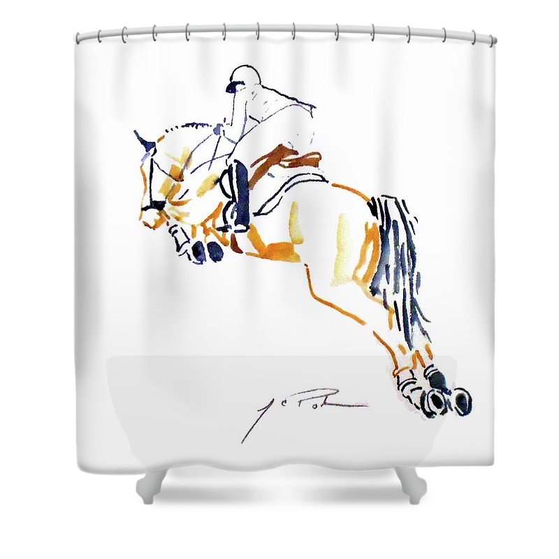 Hunter Shower Curtain featuring the painting Hunter Jumper 1 by Parker JC