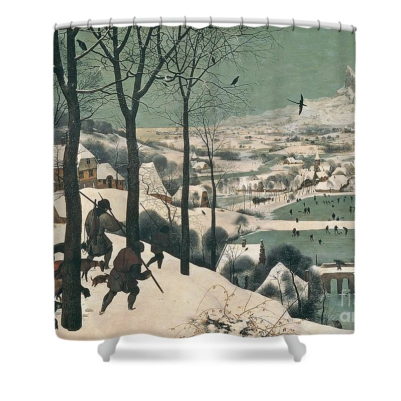 Hunters Shower Curtain featuring the painting Hunters In The Snow by Pieter the Elder Bruegel
