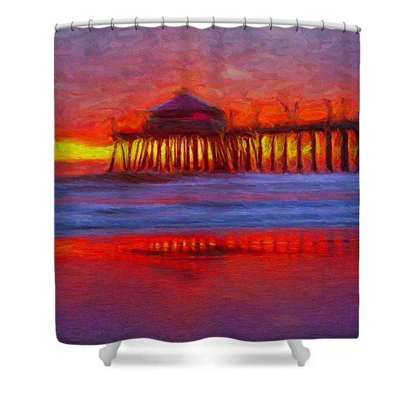 Huntington Beach Shower Curtain featuring the digital art Huntington Beach by Caito Junqueira