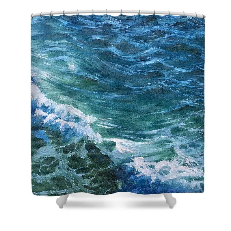 Ocean Art Shower Curtain featuring the painting Huntington by Jie Yang