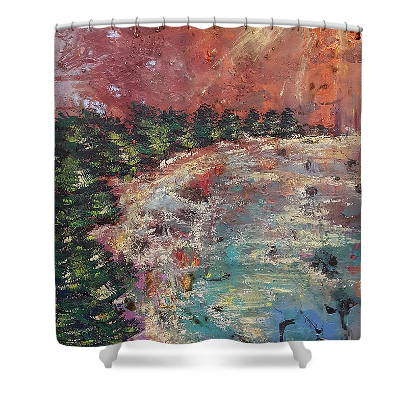 Huntington Shower Curtain featuring the painting Huntington Lake by Cheryle Gannaway