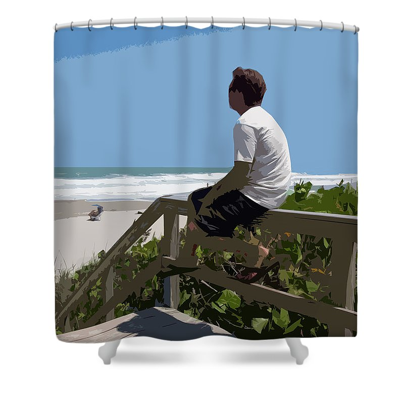 Hurricane Shower Curtain featuring the painting Hurricane Surf In Florida by Allan Hughes