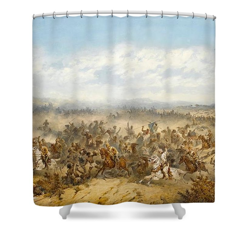 Orlando Norie - The Charge Of The 10th Hussars At The Battle Of El Teb Shower Curtain featuring the painting Hussars At The Battle by MotionAge Designs