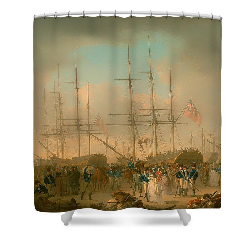 Painting Shower Curtain featuring the painting Hussars Embarking At Deptford by Mountain Dreams