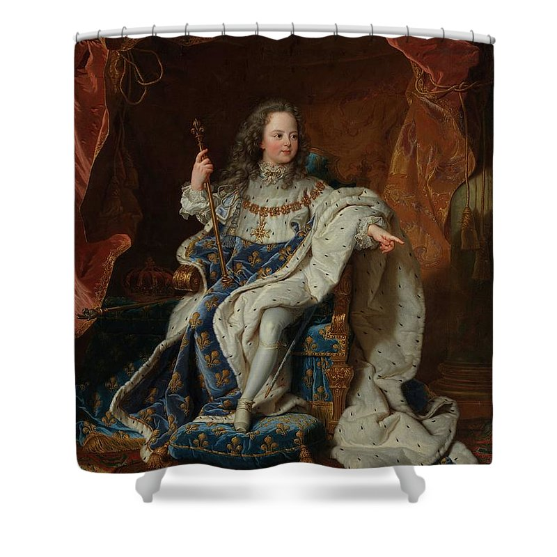 Louis Xv (1710�1774) At The Age Of Five In The Costume Of The Sacre Shower Curtain featuring the painting Hyacinthe Rigaud by MotionAge Designs