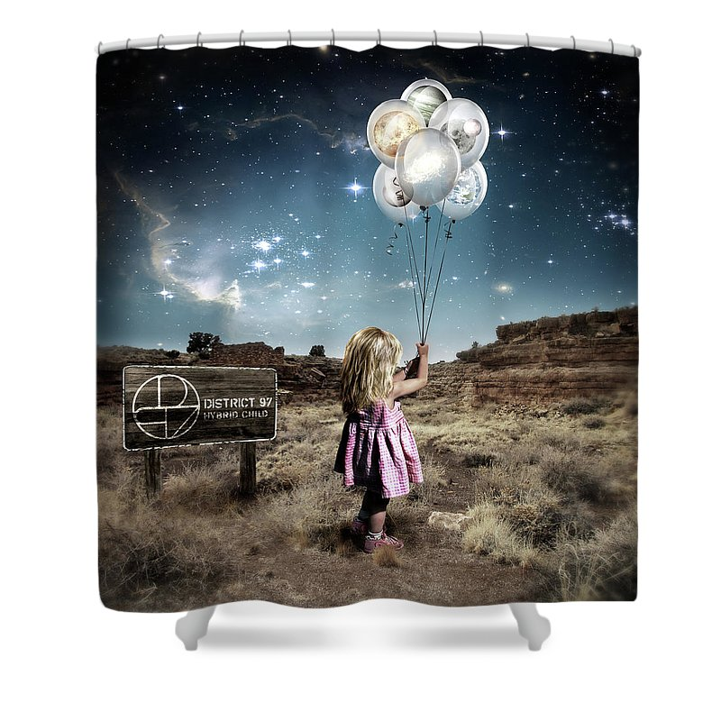 Shower Curtain featuring the digital art Hybrid Child by District 97