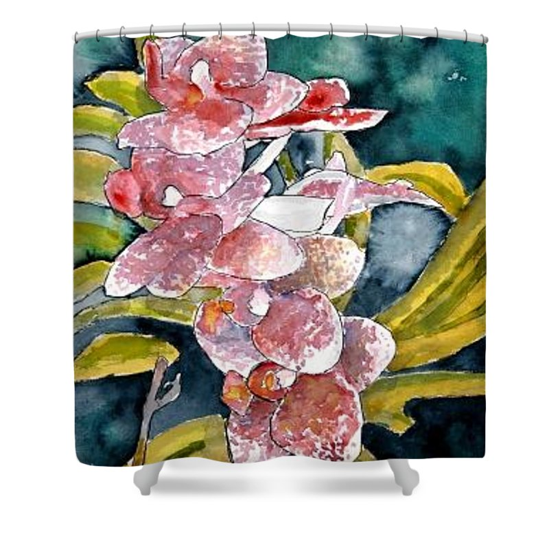 Orchid Shower Curtain featuring the painting Hybrid Orchids Orchid Flowers by Derek Mccrea