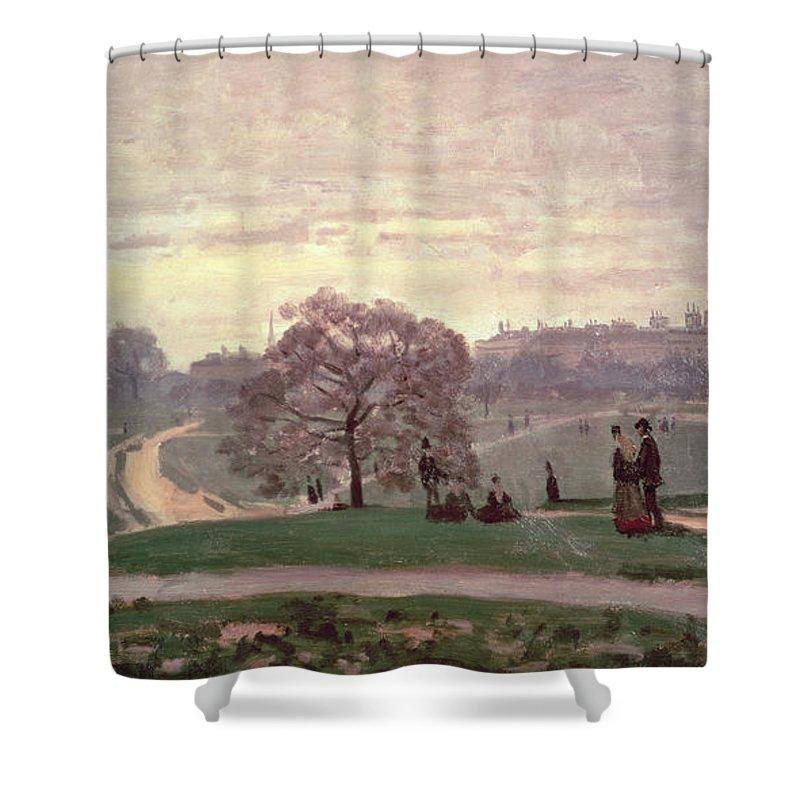 Hyde Park By Claude Monet (1840-1926) Shower Curtain featuring the painting Hyde Park by Claude Monet