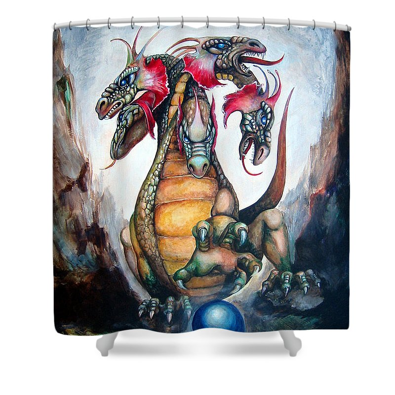Hydra Shower Curtain featuring the painting Hydra by Leyla Munteanu