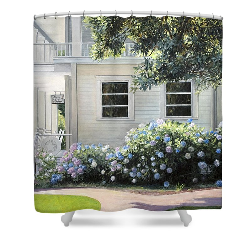 Mansion Shower Curtain featuring the painting Hydrangea Heaven by Rebecca Zook