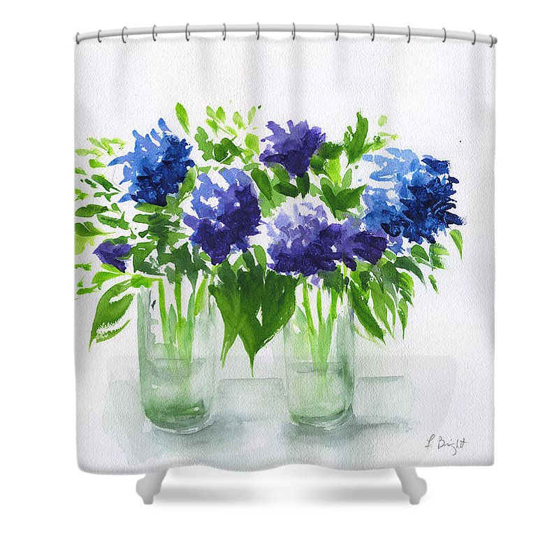 Hydrangeas At Vics Shower Curtain featuring the painting Hydrangeas At Vics by Frank Bright