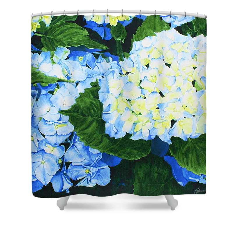 Hydrangeas Shower Curtain featuring the painting Hydrangeas by Frank Hamilton