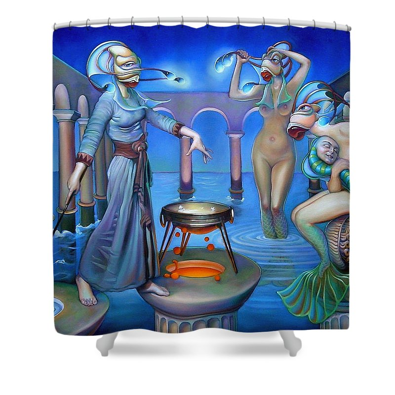 Mermaid Shower Curtain featuring the painting Hydromeda's Kitchen by Patrick Anthony Pierson