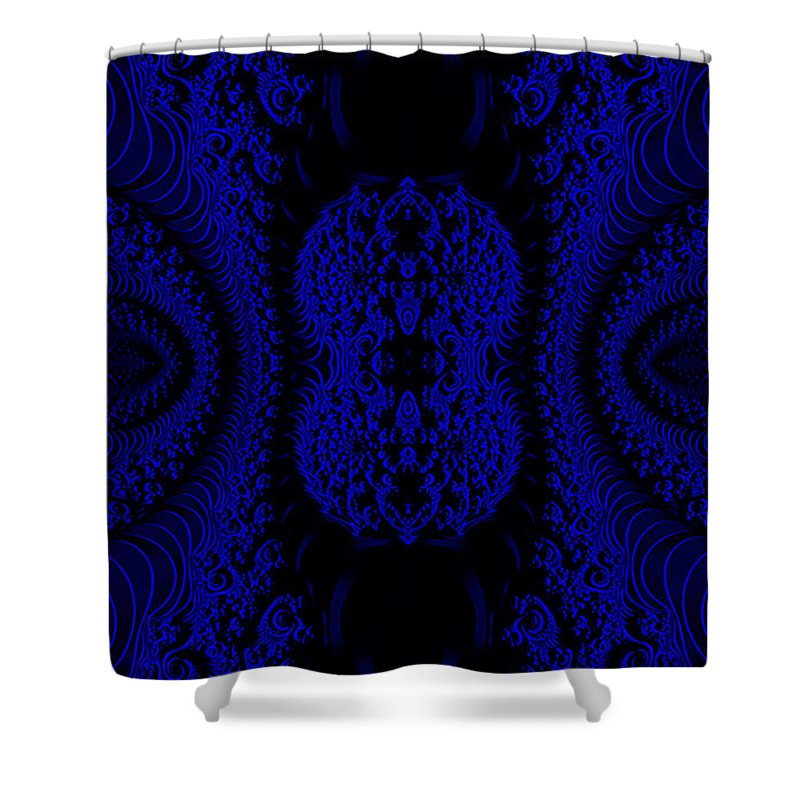 Clay Shower Curtain featuring the digital art Hyper Tidal Blue by Clayton Bruster
