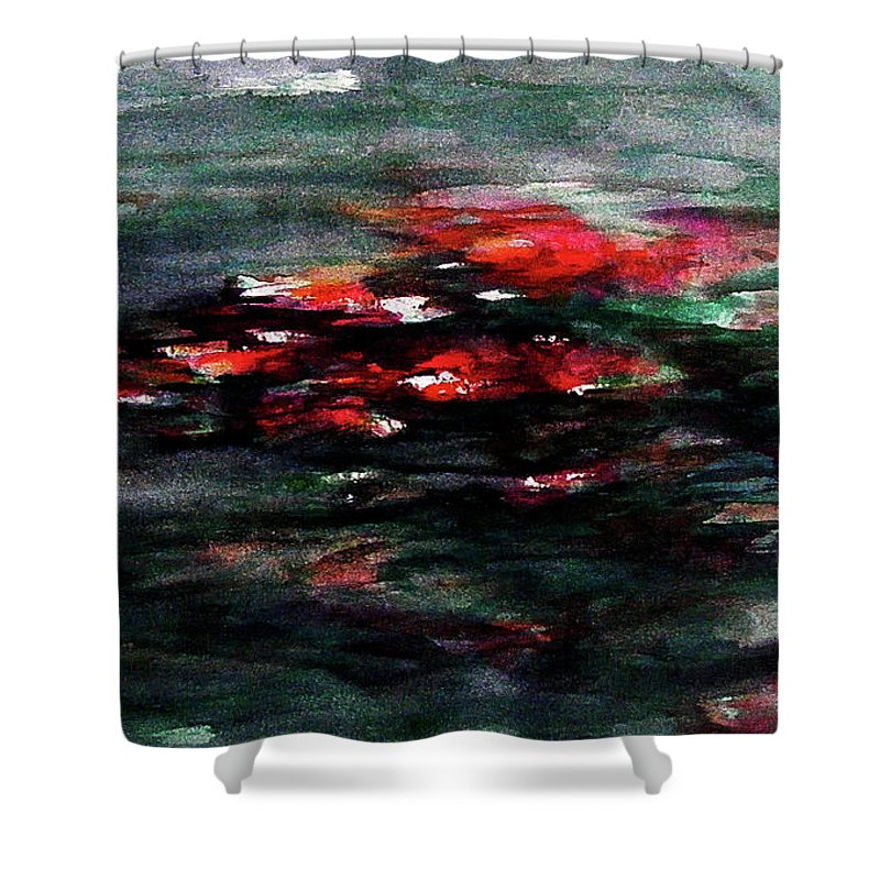 Abstract Shower Curtain featuring the painting Hypnotic Alterations by Rachel Christine Nowicki
