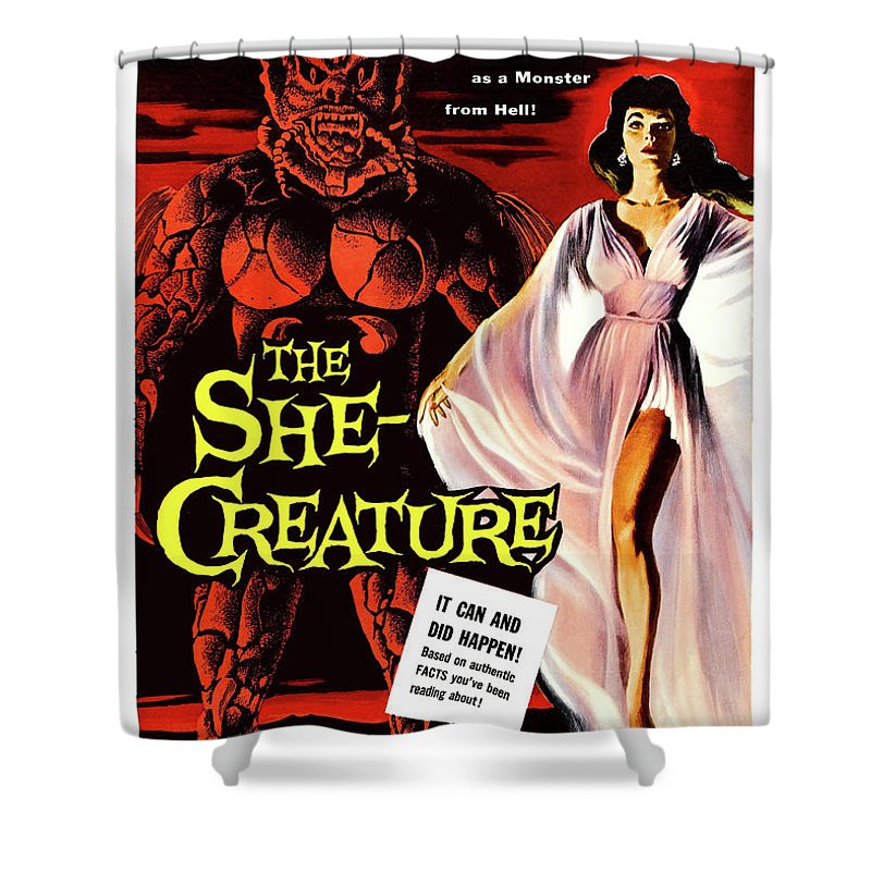 Hypnotized Shower Curtain Featuring The Painting She Creature Vintage Sci Fi Horror