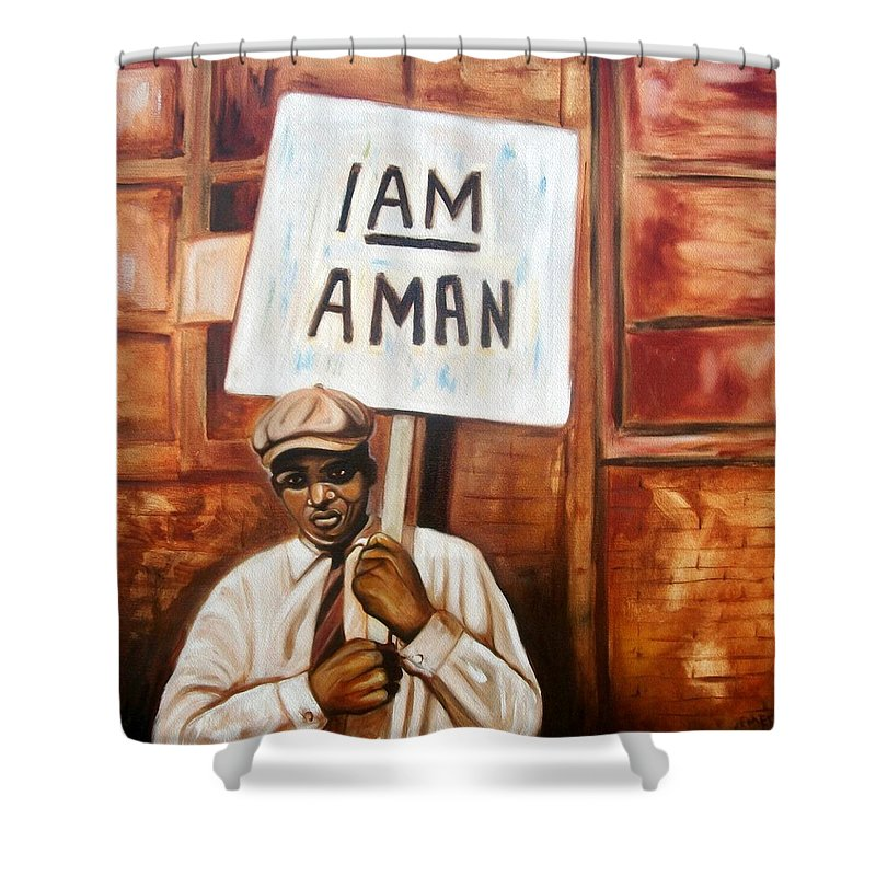 Emery Franklin Shower Curtain featuring the painting I Am A Man by Emery Franklin