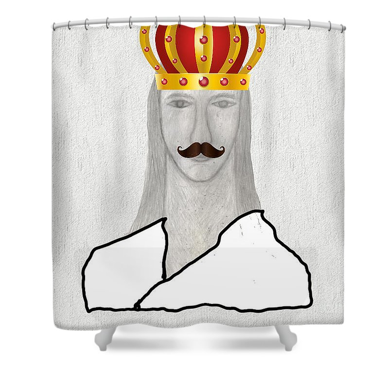 King Shower Curtain featuring the drawing I Am King But I Can Still Love by Sergey Sogomonyan