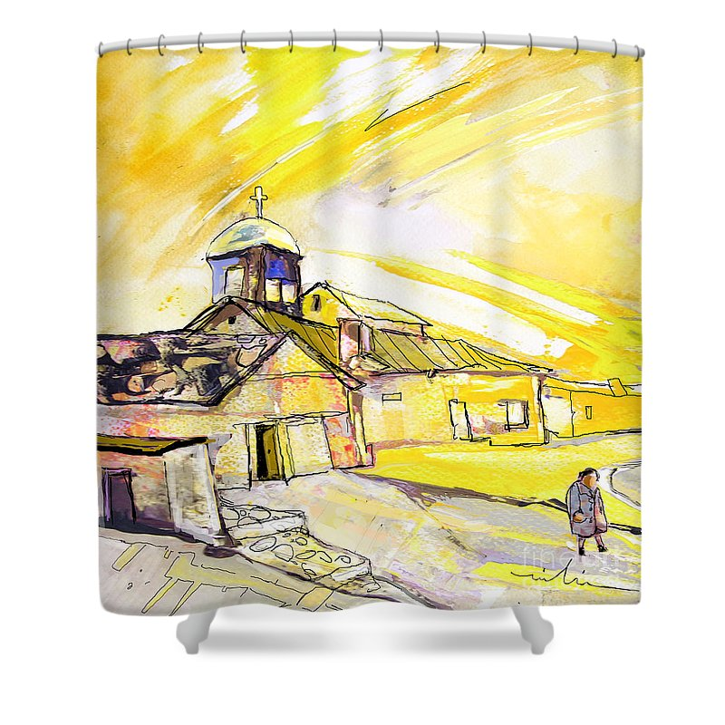 Fantasy Shower Curtain featuring the painting I Am Leaving Spain Now by Miki De Goodaboom