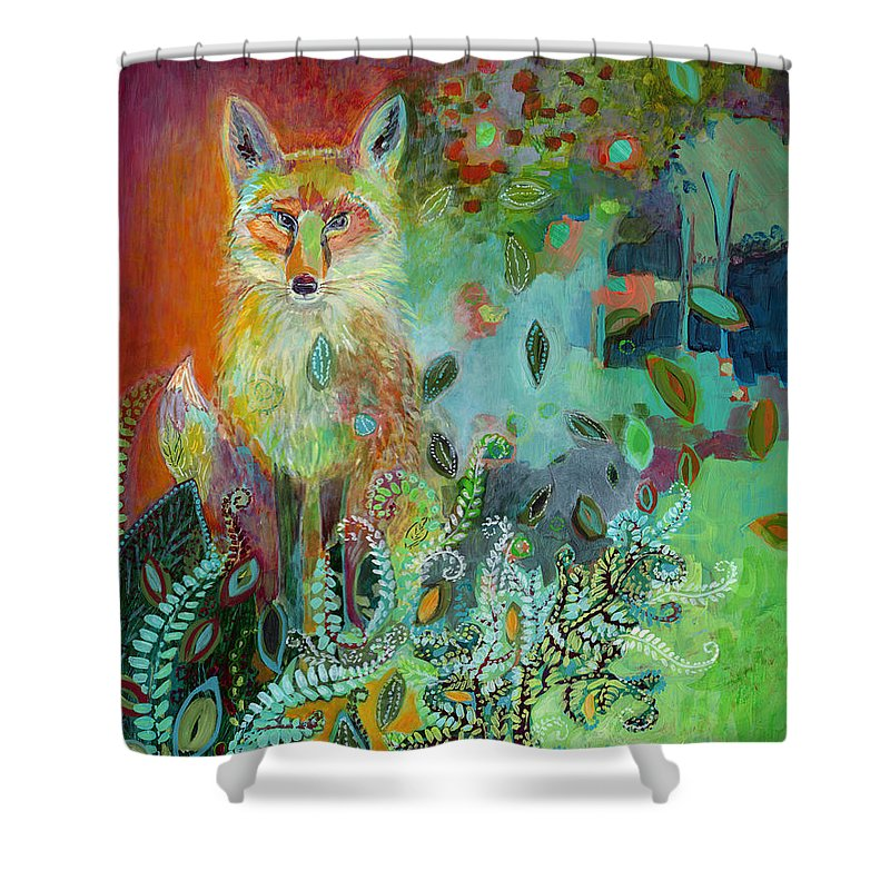 Fox Shower Curtain featuring the painting I Am The Forest Path by Jennifer Lommers