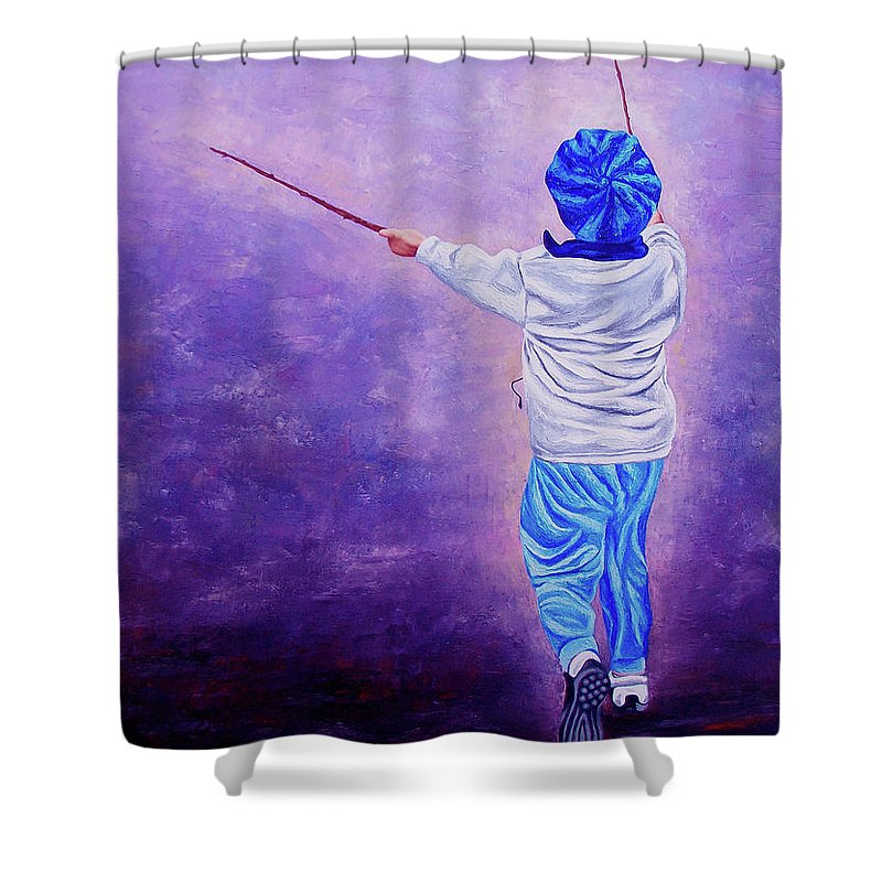 Kid Shower Curtain featuring the painting I Am The King Of The World 2 - Yo Soy El Rey Del Mundo 2 by Rezzan Erguvan-Onal