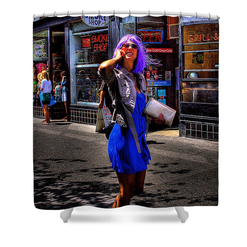 Woman. Purple Hair Shower Curtain featuring the photograph I Am The One With The White Purse by David Patterson