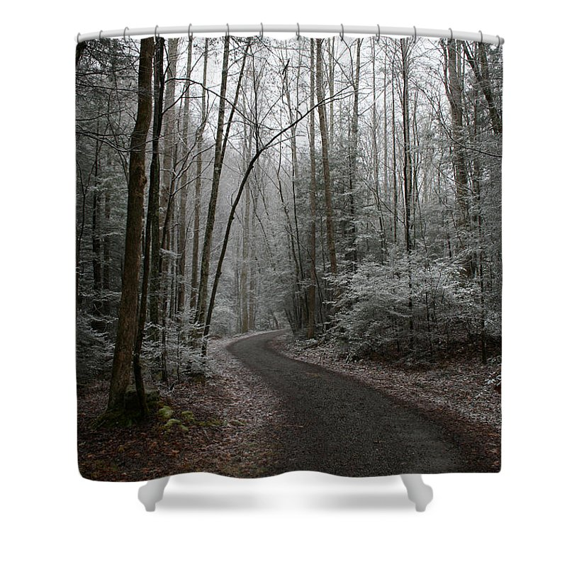 Nature Road Country Woods Forest Tree Trees Snow Winter Peaceful Quite Path White Forest Drive Shower Curtain featuring the photograph I Am The Way by Andrei Shliakhau