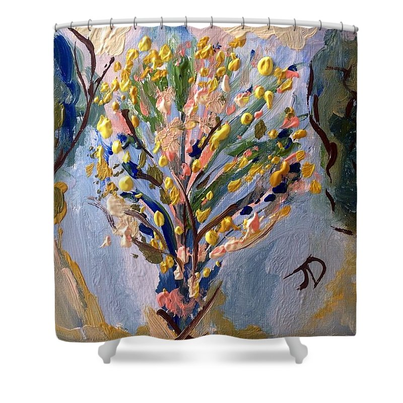 Flowers Shower Curtain featuring the painting I Brought You Flowers So My Heart Didn't Break by Judith Desrosiers