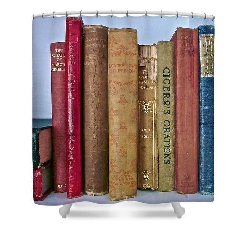 Photograph Of Books Shower Curtain featuring the photograph I Dare You Et Al. by Gwyn Newcombe