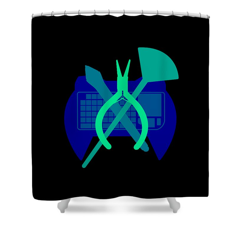 Creative Icon Shower Curtain featuring the digital art I Do It All by Jasmin Steele