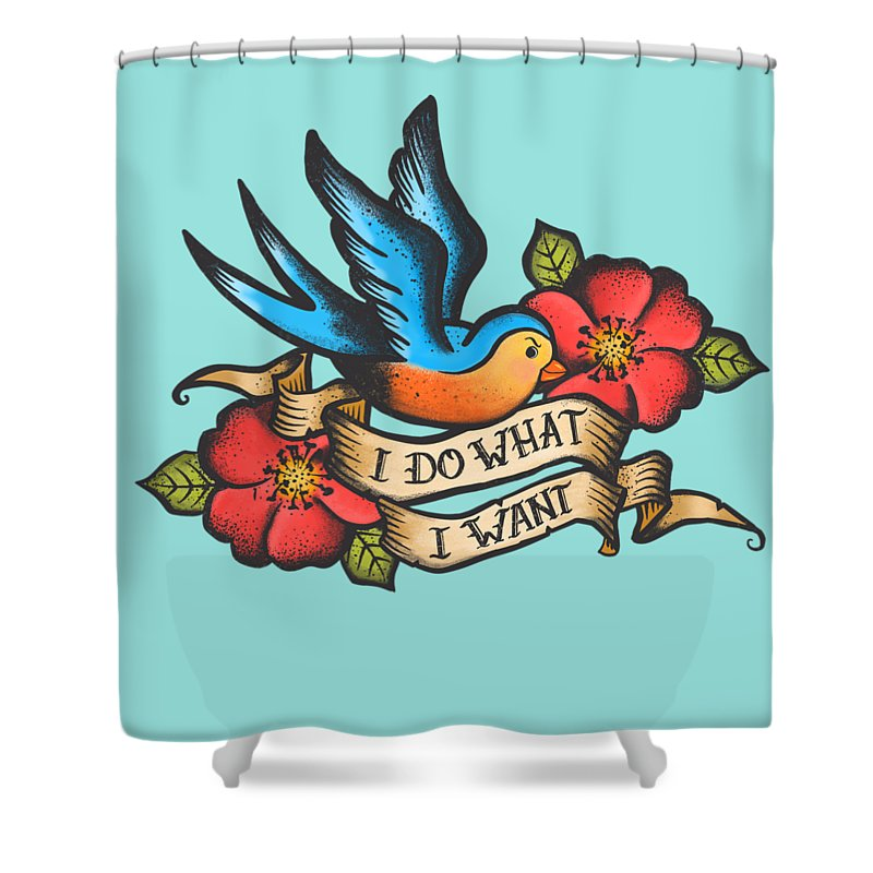 Tattoo Shower Curtain featuring the painting I Do What I Want Vintage Bluebird And Rose Tattoo by Little Bunny Sunshine
