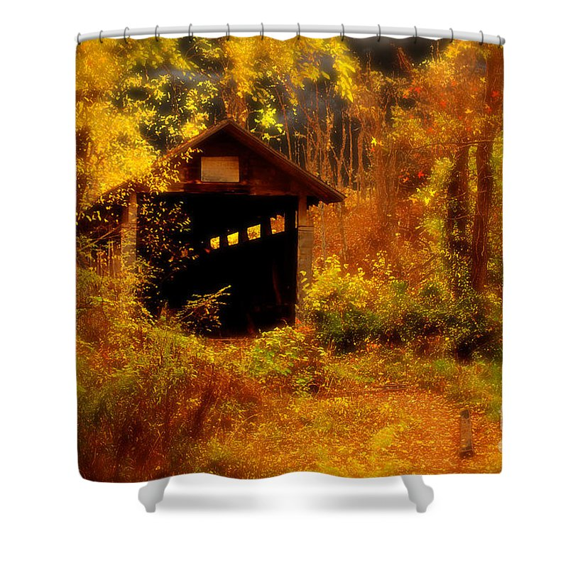Halloween Shower Curtain featuring the digital art I Double Dog Dare Ya by Lois Bryan
