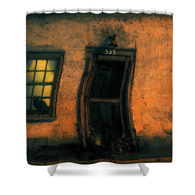 Cat Shower Curtain featuring the painting I Dreamed A Black Cat by David Lee Thompson