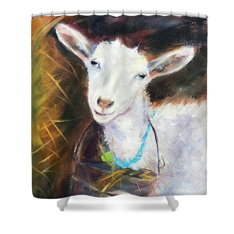 Barnyard Shower Curtain featuring the painting I Feel Pretty by Jennifer DeWeber