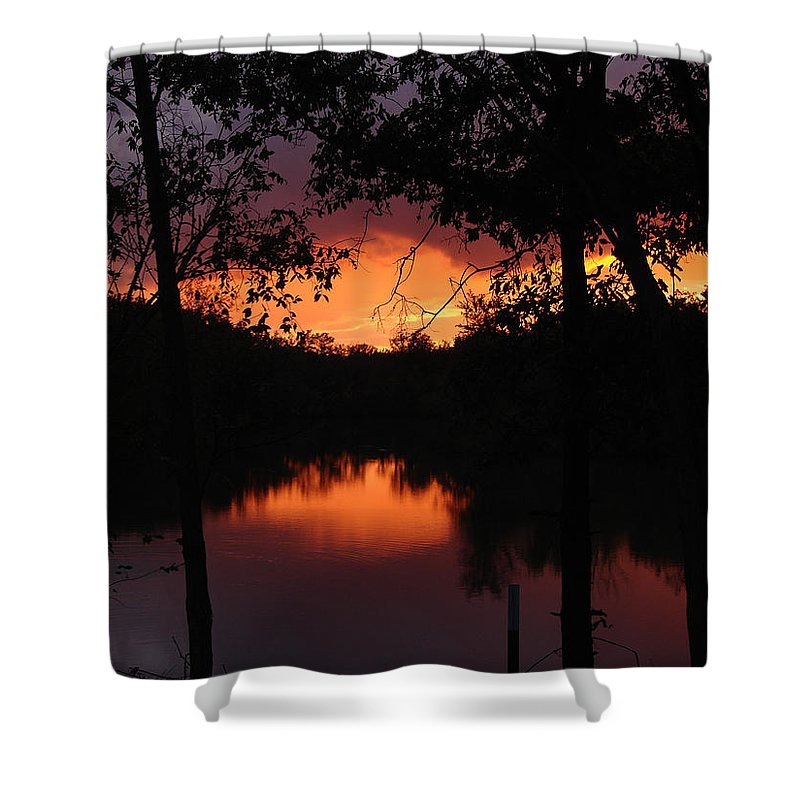 Sunset Shower Curtain featuring the photograph I Found Red October by J R Seymour
