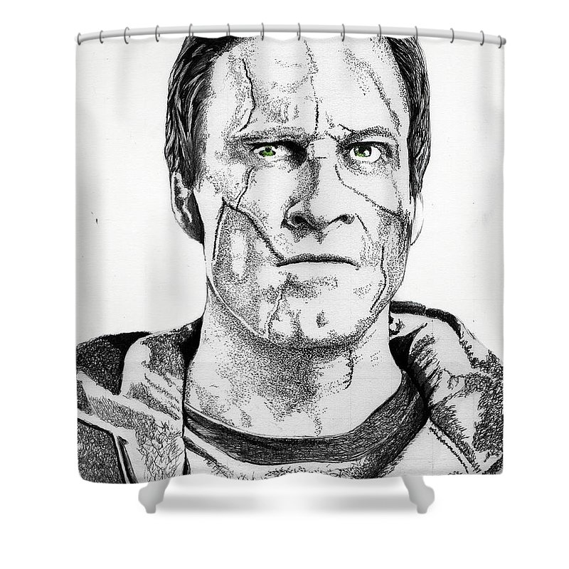 Frankenstein Shower Curtain Featuring The Drawing I By Bill Richards
