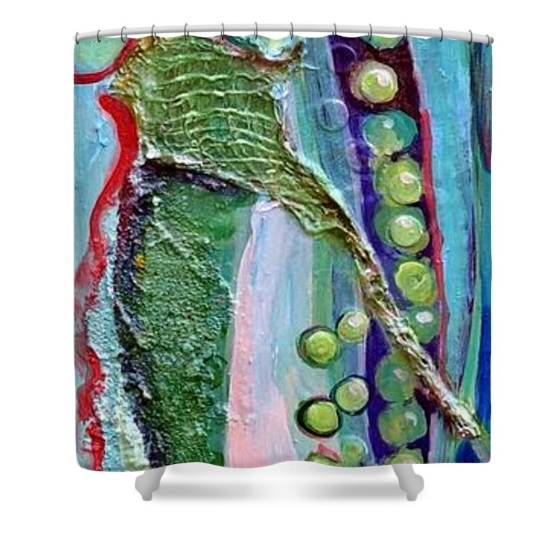 Peas Shower Curtain featuring the painting I Give You Peas by Ginger Concepcion
