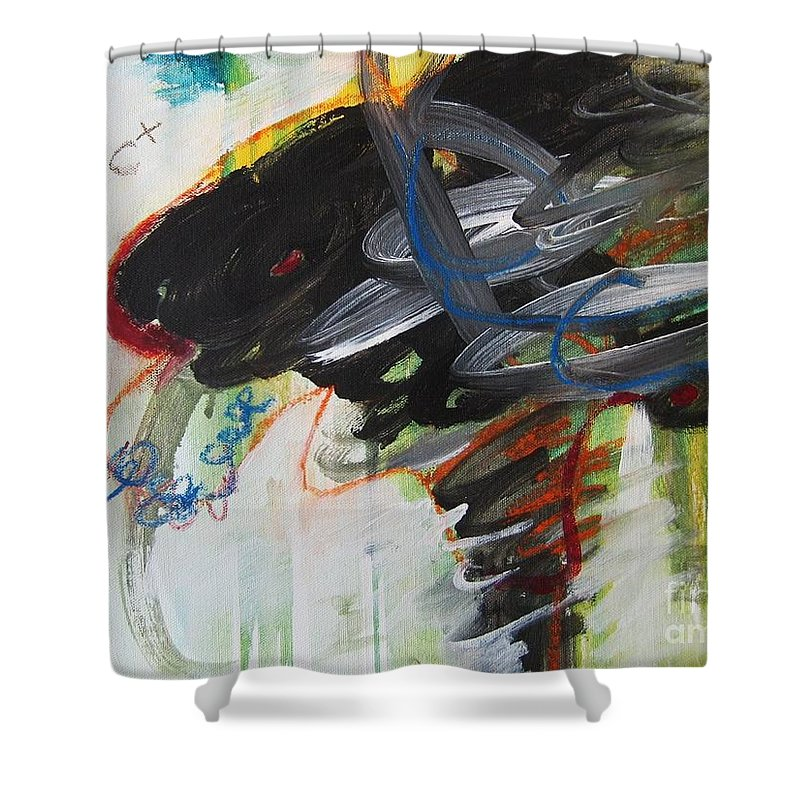 Abstract Paintings Paintings Abstract Art Paintings Shower Curtain featuring the painting I Got D by Seon-Jeong Kim