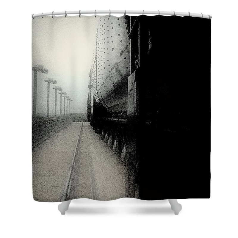 Train Shower Curtain featuring the digital art I Hear That Lonesome Whistle Blow by RC DeWinter